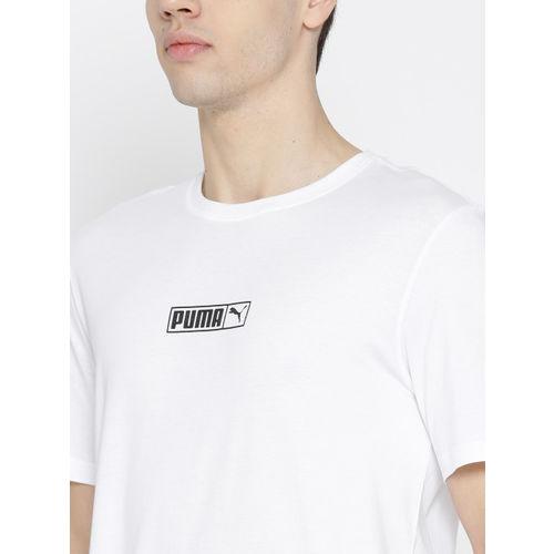 Puma Men White Graphic Logo N.2 Solid Round Neck T-shirt