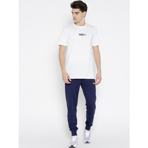 Puma Men White Graphic Logo N.2 Solid Round Neck T-shirt