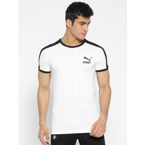 Puma Men White Solid Iconic T7 Slim Fit T-shirt