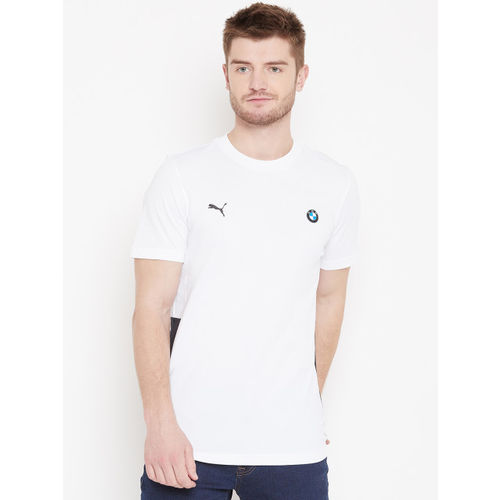 Puma Men White Solid BMW MMS Life Graphic T-Shirt With Printed Back