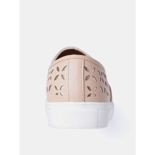 DressBerry Women Peach-Coloured & Rose Gold-Toned Cut-Work Slip-On Sneakers