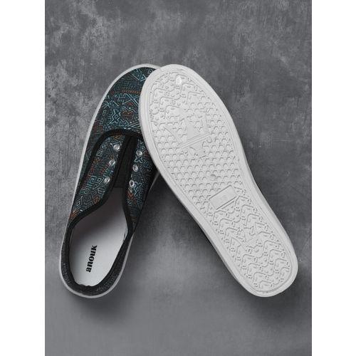 Anouk Women Navy Blue Printed Slip-On Sneakers