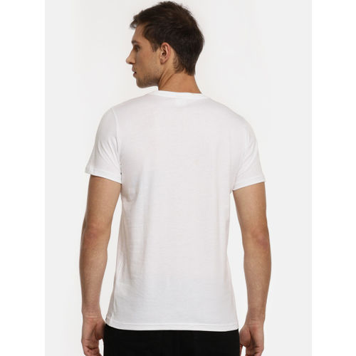 Puma Men White Printed Graphic Photo Round Neck T-shirt