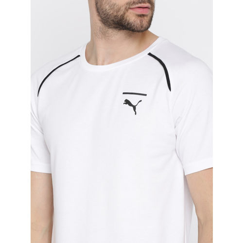 Puma Men White Solid Round Neck Evo Core T-shirt