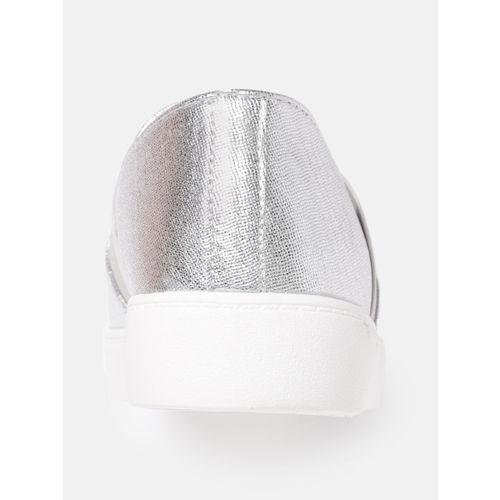 DressBerry Women Silver-Toned Slip-On Sneakers