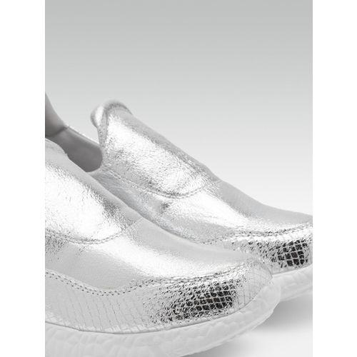 Carlton London Women Silver-Toned Sheen Effect Slip-On Sneakers
