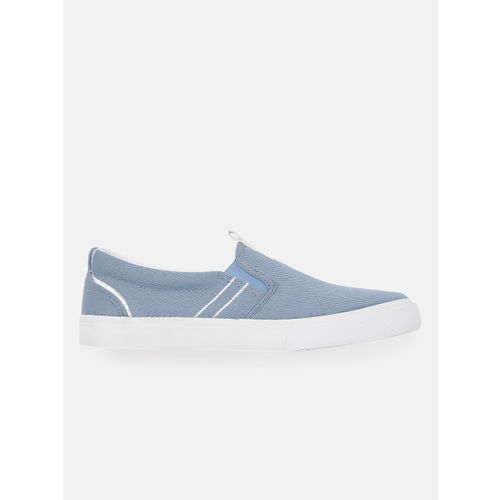 Mast & Harbour Women Blue Solid Slip-On Sneakers
