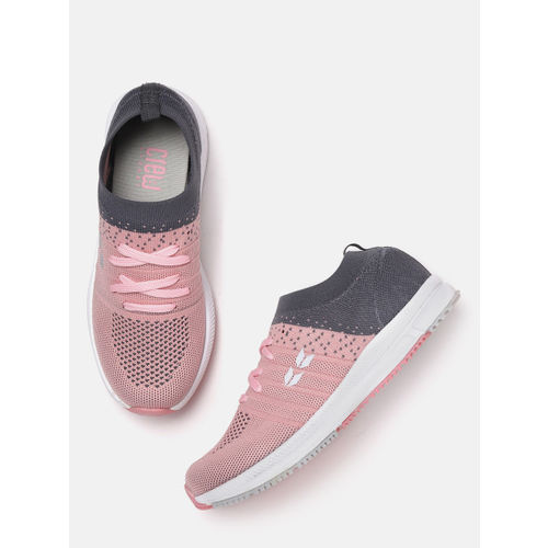 Crew STREET Women Pink & Charcoal Grey Colourblocked Running Shoes