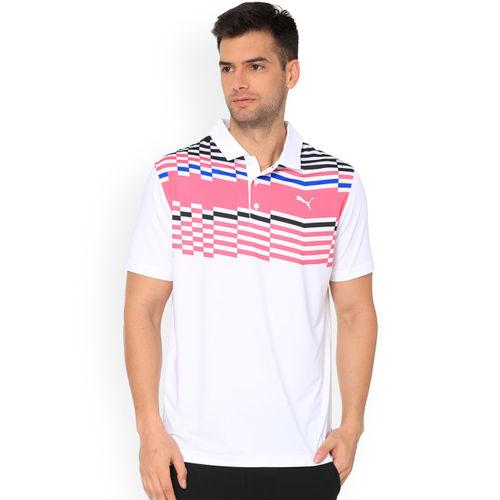 Puma Men White Striped Polo Collar Road Map T-shirt