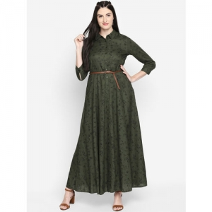 Honey by Pantaloons Women Olive Green Printed Maxi Dress