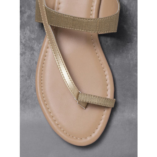 Anouk Women Gold-Toned Solid One Toe Flats