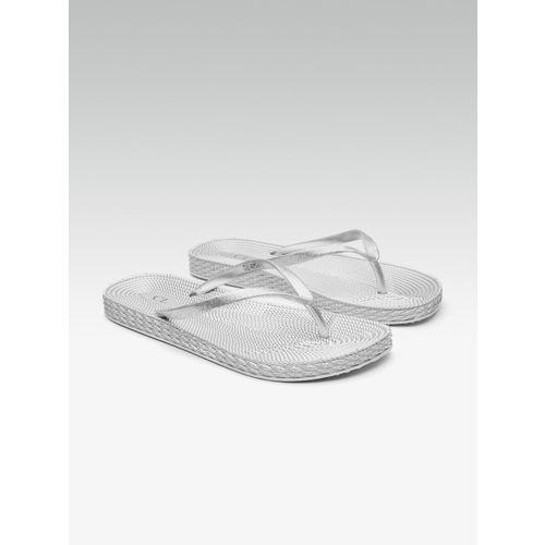 Carlton London Women Silver-Toned Shimmer Open Toe Flats