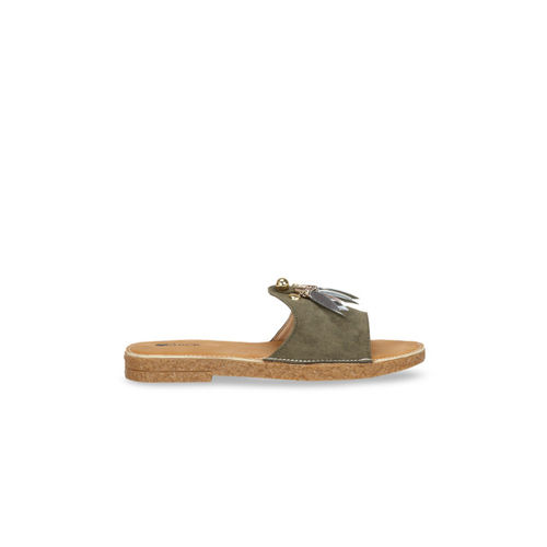 Lovely Chick Women Olive Green Solid Suede Open Toe Flats