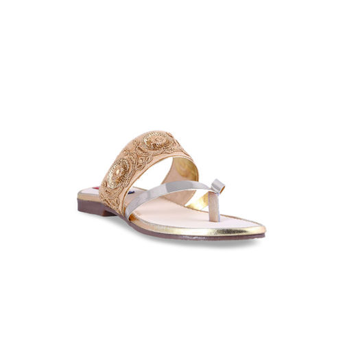 MSC Women Gold-Toned Woven Design One Toe Flats