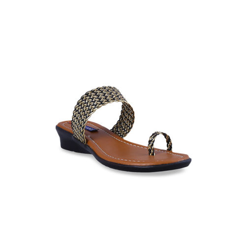 MSC Women Gold-Toned Woven Design One Toe Flats