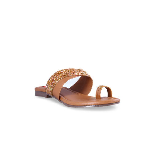 MSC Women Tan Brown Solid One Toe Flats
