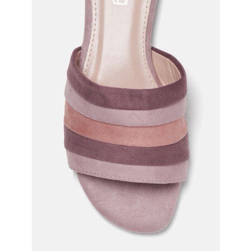 DressBerry Women Pink & Purple Striped Open Toe Flats