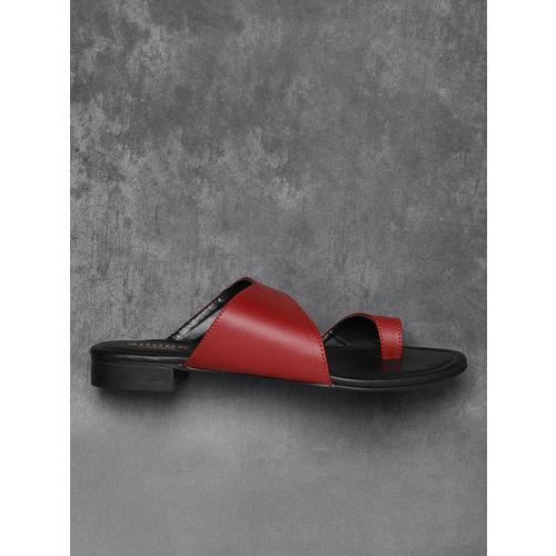 Anouk Women Maroon Solid One Toe Flats