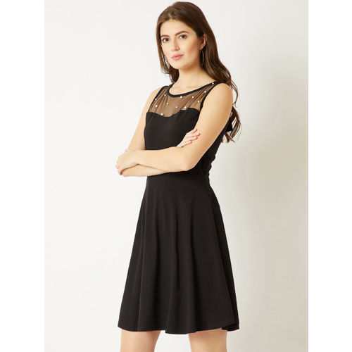 Miss Chase Black Solid Fit and Flare Dress