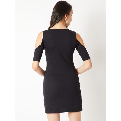Miss Chase Women Black Embellished Bodycon Dress