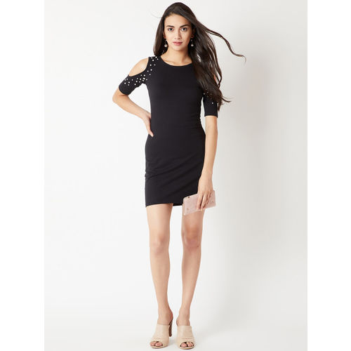 Miss Chase Women Black Embellished Bodycon Dress