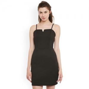 Miss Chase Women Black Solid Sheath Dress