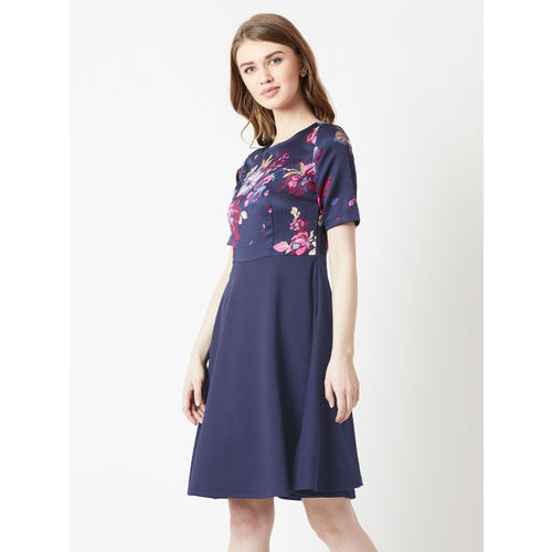 Miss Chase Women Navy Blue Printed Fit and Flare Dress