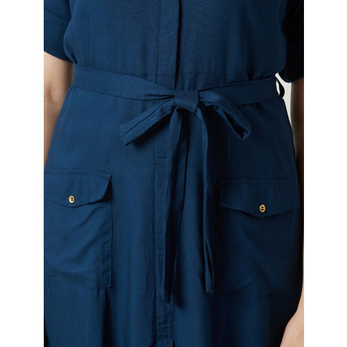 Miss Chase Women Navy Blue Solid Shirt Dress