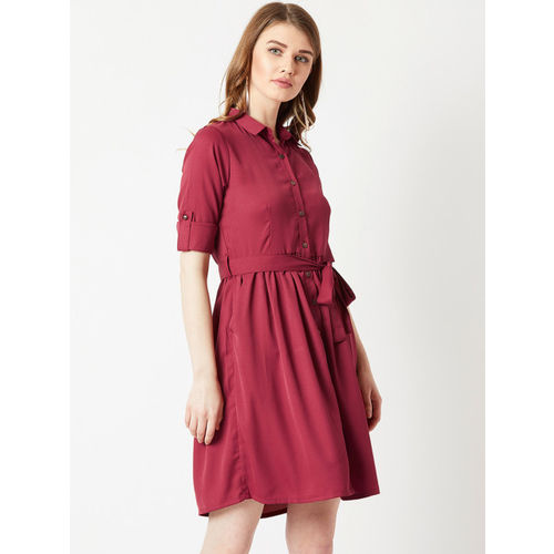 Miss Chase Women Maroon Solid Shirt Dress