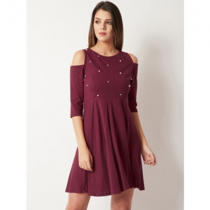 756793a7cee Buy Deal Jeans Women Maroon One-Shoulder Skater Dress with ...