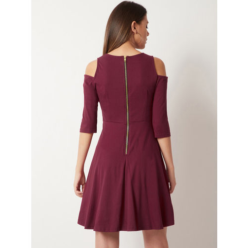 Miss Chase Women Maroon Solid Fit and Flare Dress