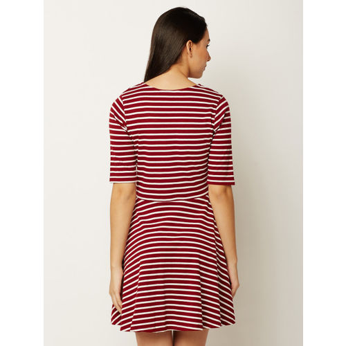 Miss Chase Women Maroon And White Striped Fit and Flare Dress