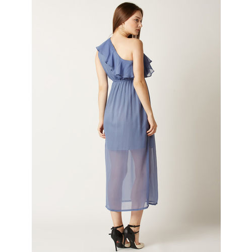 Miss Chase Women Blue Solid A-Line Dress