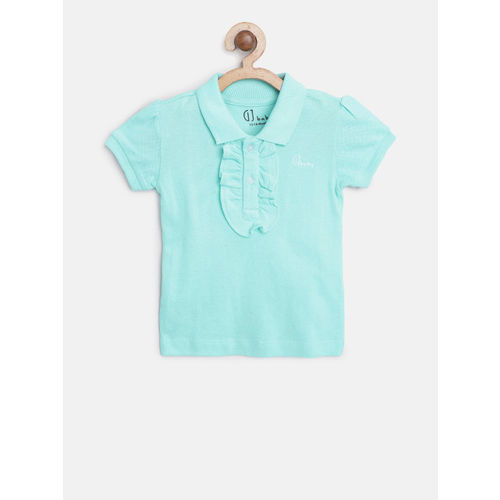 Gini and Jony Girls Blue Solid Polo Collar T-shirt