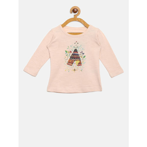Gini and Jony Girls Peach-Coloured Printed Round Neck T-shirt