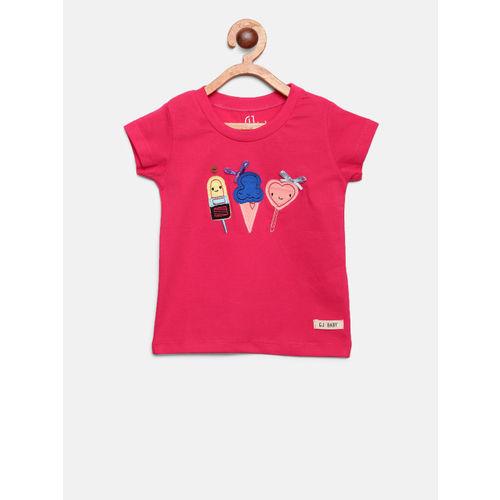 Gini and Jony Girls Pink Applique Round Neck T-shirt