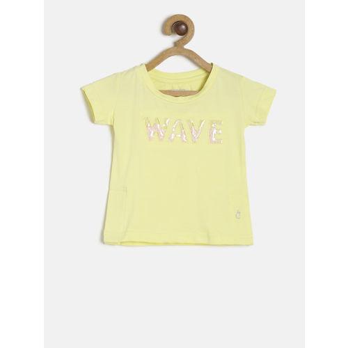 Gini and Jony Girls Yellow Printed Round Neck T-shirt