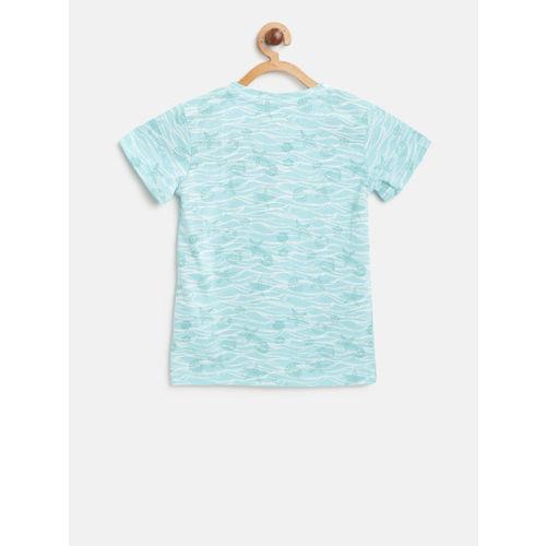 Gini and Jony Girls Blue Printed Round Neck T-shirt