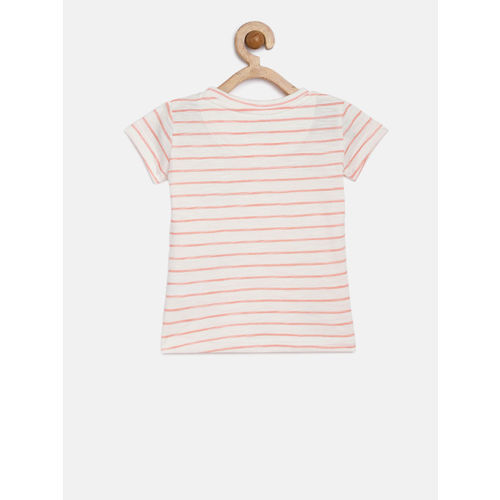 Gini and Jony Girls White Striped Round Neck T-shirt