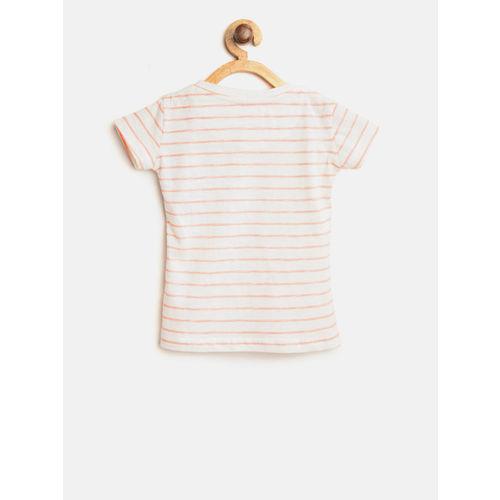 Gini and Jony Girls Off-White & Peach-Coloured Striped Round Neck T-shirt