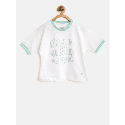 Gini and Jony Girls White Printed Round Neck Boxy T-shirt