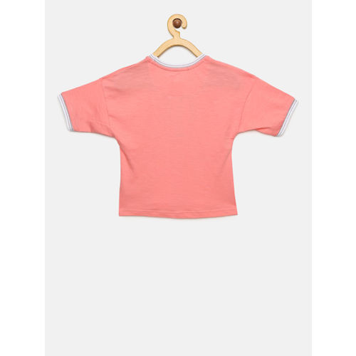 Gini and Jony Girls Pink Printed Round Neck T-shirt