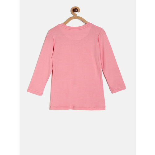 Gini and Jony Girls Pink Printed T-shirt