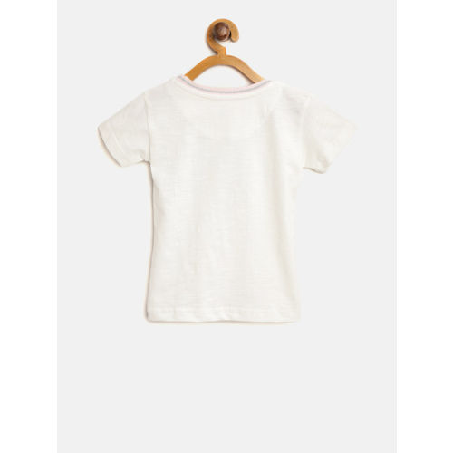 Gini and Jony Girls Off-White Printed Round Neck T-shirt