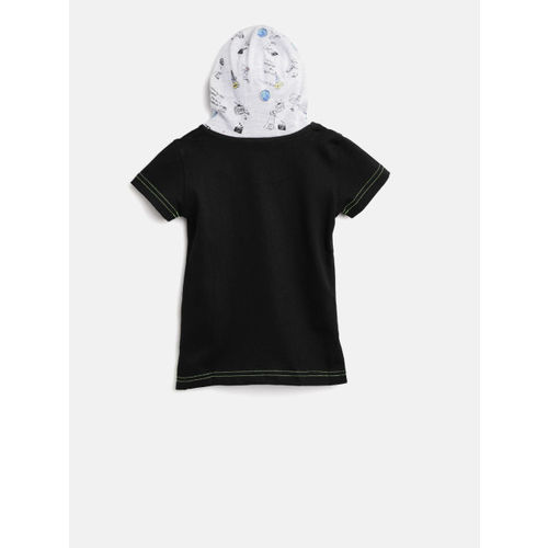 Gini and Jony Girls Black Solid Hooded T-shirt
