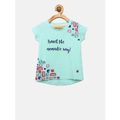 Gini and Jony Girls Green Printed Round Neck T-shirt