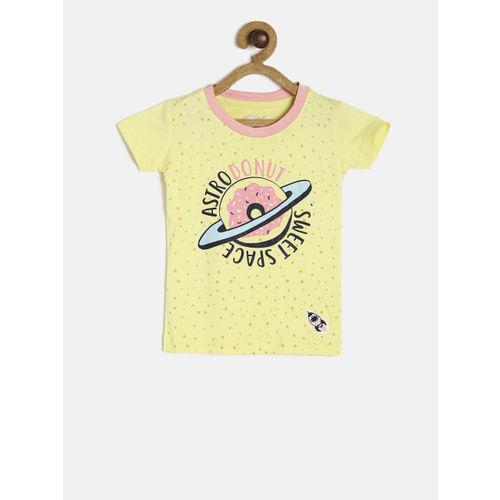 Gini and Jony Girls Yellow Printed T-shirt