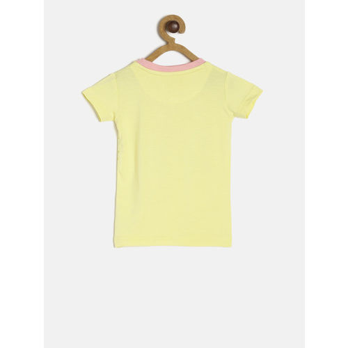 Gini and Jony Girls Yellow Printed T-shirt