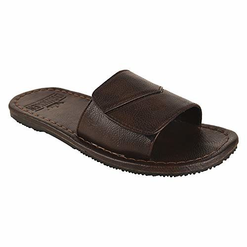 DRUNKEN Men's Adjustable Velcro Brown Synthetic Leather Slides Slippers
