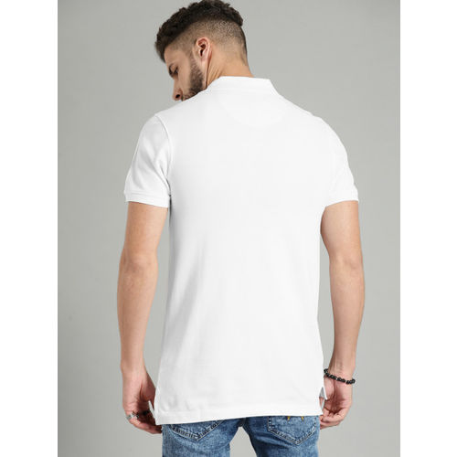Roadster Men White Solid Polo Collar T-shirt